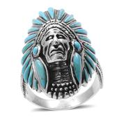 Santa Fe Style Turquoise Sterling Silver Ring (Size 12.0) TGW 2.600 cts.