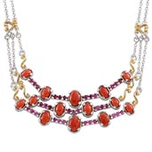 Mediterranean Coral, Ruby 14K YG and Platinum Over Sterling Silver Necklace (18 in) TGW 7.70 Cts.