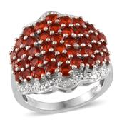Jalisco Cherry Fire Opal, Diamond Platinum Over Sterling Silver Cluster Ring (Size 7.0) TDiaWt 0.02 cts, TGW 3.620 cts.
