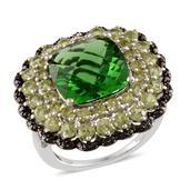Helenite, Hebei Peridot, Black Diamond Platinum Over Sterling Silver Ring (Size 7.0) TDiaWt 0.03 cts, TGW 14.010 cts.