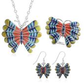 Santa Fe Style Lapis Lazuli, Multi Gemstone Sterling Silver Butterfly Ring (Adjustable), Earrings and Pendant Brooch With Chain (18 in) TGW 75.823 cts.