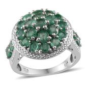 Kagem Zambian Emerald, Diamond Platinum Over Sterling Silver Ring (Size 10.0) TDiaWt 0.02 cts, TGW 4.200 cts.