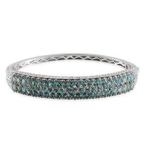 Madagascar Paraiba Apatite, White Topaz Platinum Over Sterling Silver Bangle (7.5 in) TGW 10.15 Cts.