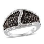 Black Diamond Platinum Over Sterling Silver Ring (Size 5.0) TDiaWt 0.50 cts, TGW 0.500 cts.