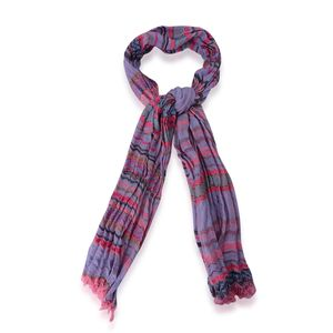 Purple and Pink Striped 100% Polyester Scarf (72x28 in)
