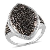 Black Diamond, Diamond Platinum Over Sterling Silver Ring (Size 6.0) TDiaWt 0.50 cts, TGW 0.500 cts.