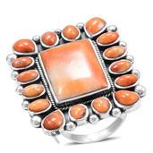 Santa Fe Style Spiny Oyster Shell Sterling Silver Orange Ring (Adjustable)