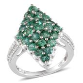Kagem Zambian Emerald Platinum Over Sterling Silver Ring (Size 8.0) TGW 3.250 cts.