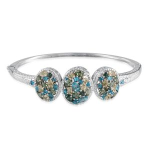 Multi Color Apatite, Diamond Bangle in Platinum Overlay Sterling Silver Nickel Free (7.5 in) TDiaWt 0.03 cts, TGW 9.23 cts.