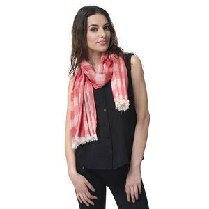 J Francis - Red Checks Pattern 50% Cotton, 50% Modal Scarf (71x28 in)
