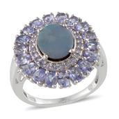 Australian Boulder Opal, Tanzanite Platinum Over Sterling Silver Ring (Size 7.0) TGW 6.300 cts.