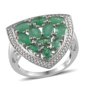Kagem Zambian Emerald, Diamond Platinum Over Sterling Silver Ring (Size 9.0) TDiaWt 0.01 cts, TGW 4.660 cts.