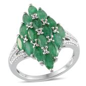 Kagem Zambian Emerald Platinum Over Sterling Silver Ring (Size 7.0) TGW 3.750 cts.