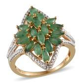 Kagem Zambian Emerald, Diamond 14K YG Over Sterling Silver Ring (Size 7.0) TDiaWt 0.01 cts, TGW 2.760 cts.