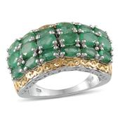 Kagem Zambian Emerald 14K YG and Platinum Over Sterling Silver Ring (Size 7.0) TGW 5.400 cts.