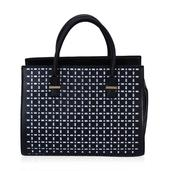 J Francis - Black Faux Leather Handbag (14x5x10 in)