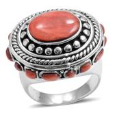 Santa Fe Style Spiny Oyster Red Shell Sterling Silver Ring (Size 7.0)