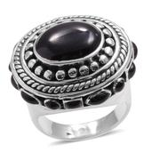 Santa Fe Style Black Onyx Sterling Silver Ring (Size 7.0) TGW 3.510 cts.