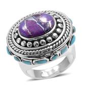 Santa Fe Style Turquoise, Mojave Purple Turquoise Sterling Silver Ring (Size 6.0) TGW 3.15 cts.