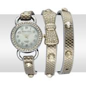STRADA Austrian Crystal, Japanese Movement Wrap Watch with Golden Band and Stainless Steel Back