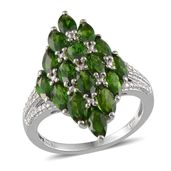 Russian Diopside Platinum Over Sterling Silver Ring (Size 7.0) TGW 5.250 cts.
