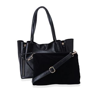 J Francis - Black Faux Leather Handbag (13x6x10 in)