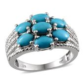 Arizona Sleeping Beauty Turquoise, Diamond Platinum Over Sterling Silver Ring (Size 6.0)  , TGW 2.61 cts.