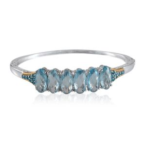 Sky Blue Topaz, Malgache Neon Apatite 14K YG and Platinum Over Sterling Silver Bangle (7.5 in) TGW 25.75 cts.
