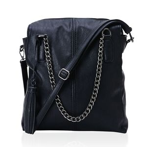 J Francis - Black Faux Leather Shoulder Bag (12x5x12 in)