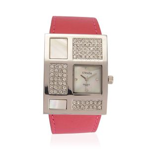 STRADA Mother of Pearl, Austrian Crystal Japanese Movement Watch with Pink Band and Stainless Steel Back