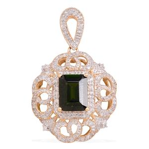 14K YG Russian Diopside, Diamond Pendant without Chain TDiaWt 0.17 cts, TGW 2.43 cts.