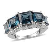 London Blue Topaz, Diamond Platinum Over Sterling Silver Ring (Size 8.0) TDiaWt 0.01 cts, TGW 9.750 cts.