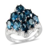 London Blue Topaz (Ovl) Ring in Platinum Overlay Sterling Silver Nickel Free (Size 8.0) TGW 9.150 cts.