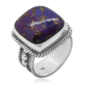 Bali Legacy Collection Mojave Purple Turquoise Sterling Silver Ring (Size 7.0) TGW 9.700 cts.