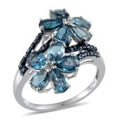 London Blue Topaz, Blue Diamond Platinum Over Sterling Silver Floral Ring (Size 7) TDiaWt 0.02 cts, TGW 5.320 cts.