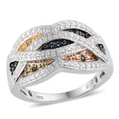 Multi Color Diamond Platinum Over Sterling Silver Accent Ring (Size 8.0) TDiaWt 0.05 cts, TGW 0.050 cts.