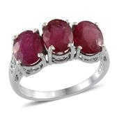 Niassa Ruby Platinum Over Sterling Silver 3 Stone Timeless Ring (Size 6.0) TGW 7.900 cts.