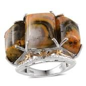 Bumble Bee Jasper, Diamond 14K YG and Platinum Over Sterling Silver Ring (Size 7.0) , TDiaWt 0.01 cts, TGW 25.250 cts.
