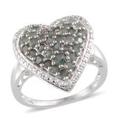 Narsipatnam Alexandrite, Diamond Platinum Over Sterling Silver Heart Cluster Ring (Size 8.0) TDiaWt 0.02 cts, TGW 1.504 cts.