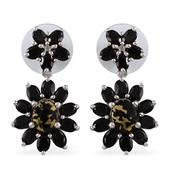 Goldenite, Thai Black Spinel Platinum Over Sterling Silver Earrings TGW 8.55 cts.