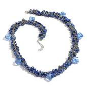 Lapis Lazuli, Glass Necklace in Silvertone With Stainless Steel Chain (20 in) TGW 163.450 cts.