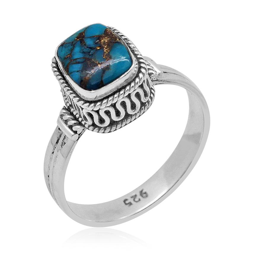 Bali Legacy Collection Mojave Blue Turquoise (Cush) Ring in Sterling Silver Nickel Free (Size 10.0) TGW 2.09 Cts.