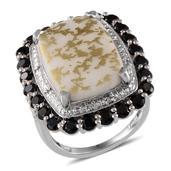 White Goldenite, Thai Black Spinel, Diamond Platinum Over Sterling Silver Ring (Size 9.0) TDiaWt 0.07 cts, TGW 12.780 cts.