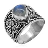 Bali Legacy Collection Sri Lankan Rainbow Moonstone Sterling Silver Ring (Size 6.0) TGW 2.700 cts.