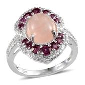Marropino Morganite, Orissa Rhodolite Garnet Platinum Over Sterling Silver Ring (Size 8.0) TGW 5.69 cts.