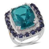 Capri Blue Quartz, Catalina Iolite, Diamond 14K YG and Platinum Over Sterling Silver Ring (Size 7.0) TDiaWt 0.01 cts, TGW 25.610 cts.