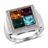 J Francis - Ring in Stainless Steel (Size 7) Made with SWAROVSKI Multi Color Crystal TGW 4.650 cts.