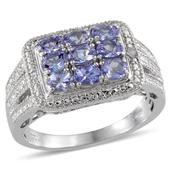Tanzanite, Diamond Platinum Over Sterling Silver Ring (Size 6.0) , TDiaWt 0.02 cts, TGW 1.520 cts.