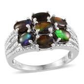 Canadian Ammolite, Diamond Platinum Over Sterling Silver Ring (Size 10.0) TDiaWt 0.01 cts, TGW 3.760 cts.