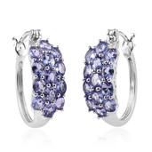 Tanzanite Platinum Over Sterling Silver Cluster Hoop Earrings TGW 4.40 Cts.